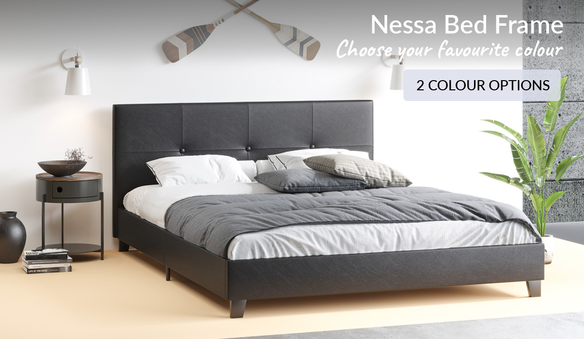 King Queen Double Size Bed Frame Pu Leather Black White Colours Bedroom Base Ebay