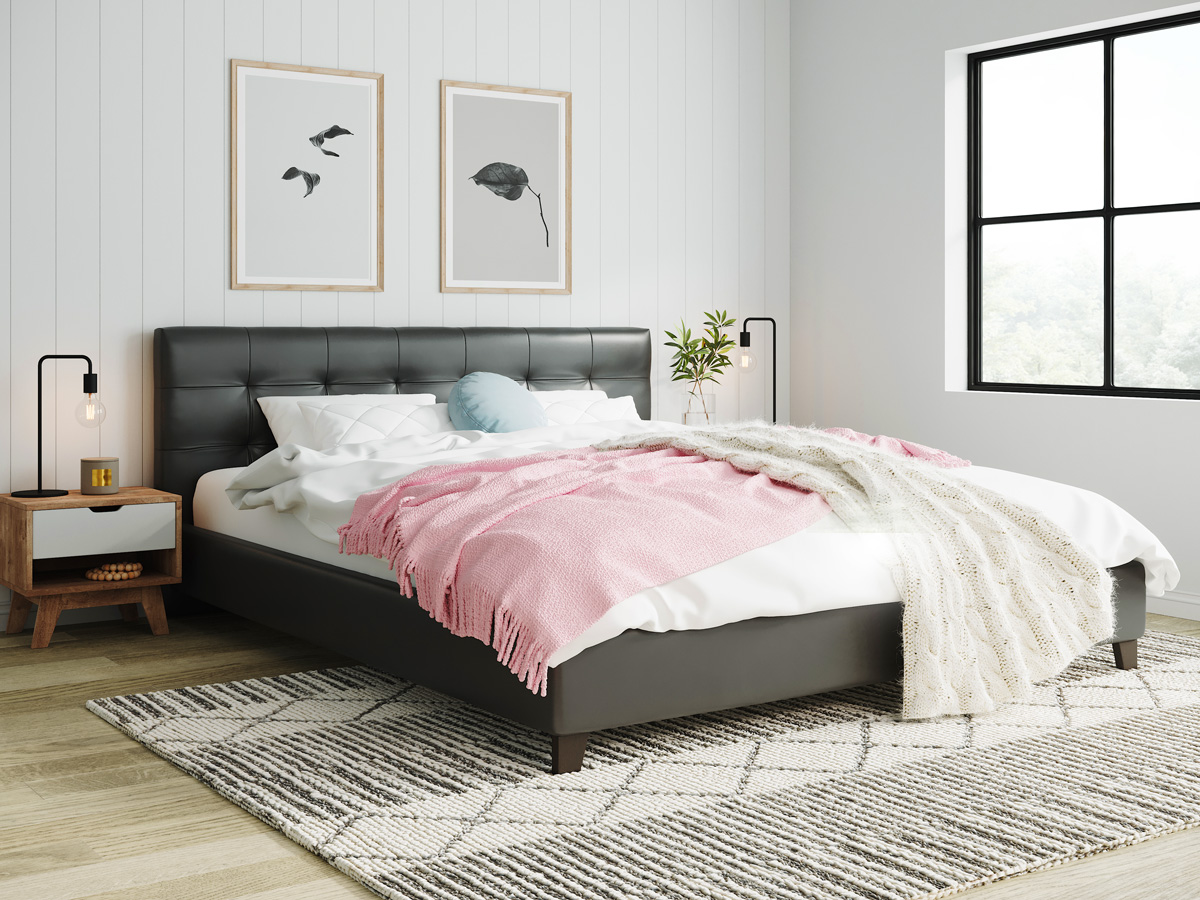 Tommy Swiss King Queen Double Size Modern Bed Frame In Pu Leather Black Brown Ebay